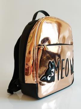 Рюкзак для школы для девочек c котом Мяу alba soboni 211502 цвет золото . Фото - 2