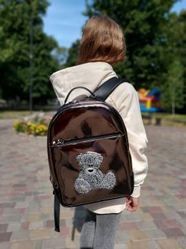 Рюкзак школьный для девочки мишка Teddy alba soboni 211503 цвет бронза . Фото - 1