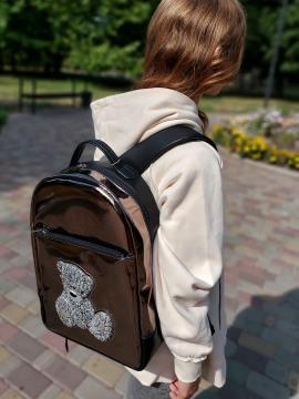 Рюкзак школьный для девочки мишка Teddy alba soboni 211503 цвет бронза . Фото - 2