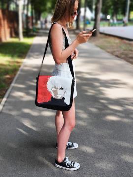 Школьная сумка через плечо Кен Канеки с двухсторонним клапаном alba soboni 211532 цвет черная. Фото - 2