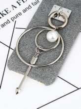 Молодежный брелок-подвеска на телефон двойное кольцо с жемчужиной никель. Изображение товара, вид 1