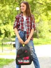 Школьный рюкзак с вышивкой, модель 181541 черный. Изображение товара, вид спереди.