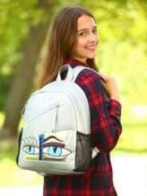 Школьный рюкзак с вышивкой, модель 181541 серебро. Изображение товара, вид спереди.