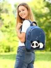 Школьный рюкзак с вышивкой, модель 181553 синий. Изображение товара, вид спереди.