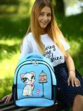 Женский рюкзак с вышивкой, модель 181705 голубой. Изображение товара, вид спереди.