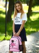 Модный рюкзак с вышивкой, модель 181706 розовый. Изображение товара, вид спереди.