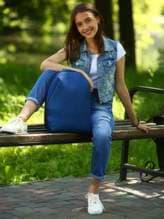 Женский рюкзак, модель e18122 синий. Изображение товара, вид спереди.