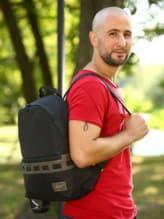 Школьный рюкзак - unisex, модель 181614 черный-хаки. Изображение товара, вид спереди.