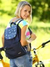 Молодежный рюкзак с вышивкой, модель 183842 синий. Изображение товара, вид спереди.
