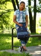 Брендовый рюкзак с вышивкой, модель 183852 синий. Изображение товара, вид спереди.