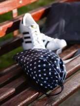 Брендовый мешочек для обуви, модель 183834 синий/белый горох. Изображение товара, вид спереди.