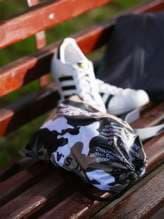 Стильный мешочек для обуви, модель 183836 милитари/черный. Изображение товара, вид спереди.