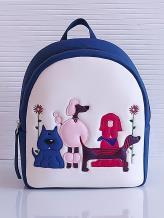 Фото товара: рюкзак KH0071 белый-синий. Вид 1.