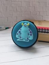 Модный чехол для наушников саливон круглый голубой. Изображение товара, вид 1