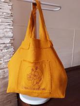 Фото товара: льняная сумка горчичная. Вид 1.