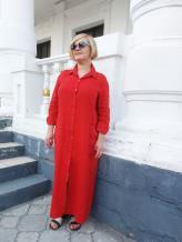 Фото товара: льняное платье - рубашка красная. Вид 1.