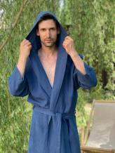 Фото товара: мужской льняной халат с капюшоном синий. Вид 1.