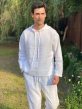 Фото товара: льняное мужское худи белое. Вид 1.