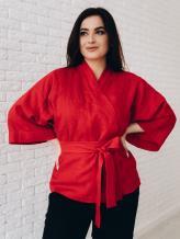 Фото товара: льняное короткое кимоно красное. Вид 1.