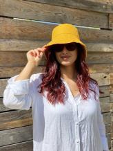 Фото товара: льняная женская панама горчичная. Вид 1.