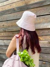 Фото товара: льняная женская панама светло-розовая. Вид 1.