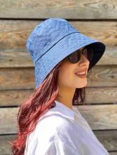 Фото товара: льняная женская панама темно-синяя. Вид 1.