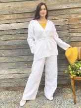 Фото товара: льняные брюки Палаццо белые. Вид 1.