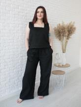 Фото товара: льняные брюки Палаццо черные. Вид 1.