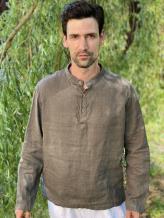 Фото товара: льняная мужская рубашка серая. Вид 1.