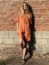Фото товара: льняные шорты оранжевые. Вид 1.