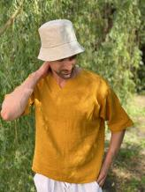Фото товара: льняная панама унисекс натуральная. Вид 1.