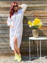 Фото товара: льняное платье - рубашка белая. Вид 1.