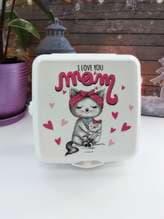 Модный ланч-бокс i love you mom белый. Изображение товара, вид 1
