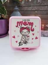 Модный ланч-бокс i love you mom розовый. Изображение товара, вид 1