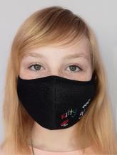 Фото товара: детская маска двухслойная 004 черный. Вид 1.