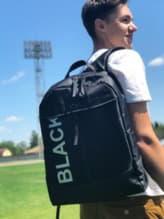 Брендовый рюкзак, модель 191601 черный. Изображение товара, вид спереди.