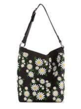 Стильная сумка с вышивкой, модель 180001 черный. Изображение товара, вид спереди.