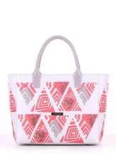 Летняя сумка с вышивкой, модель 180083 белый. Изображение товара, вид спереди.