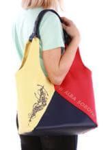 Модная сумка с вышивкой, модель 190384 красно-синий. Изображение товара, вид спереди.