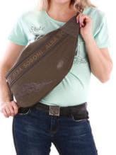 Стильная сумка через плечо с вышивкой, модель 190095 хаки. Изображение товара, вид спереди.