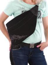 Модная сумка через плечо с вышивкой, модель 190096 черный. Изображение товара, вид спереди.
