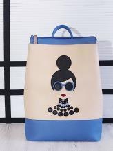 Фото товара: рюкзак 201302 голубой-бежевый. Вид 1.