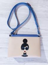 Фото товара: сумка через плечо 201312 голубой-бежевый. Вид 1.