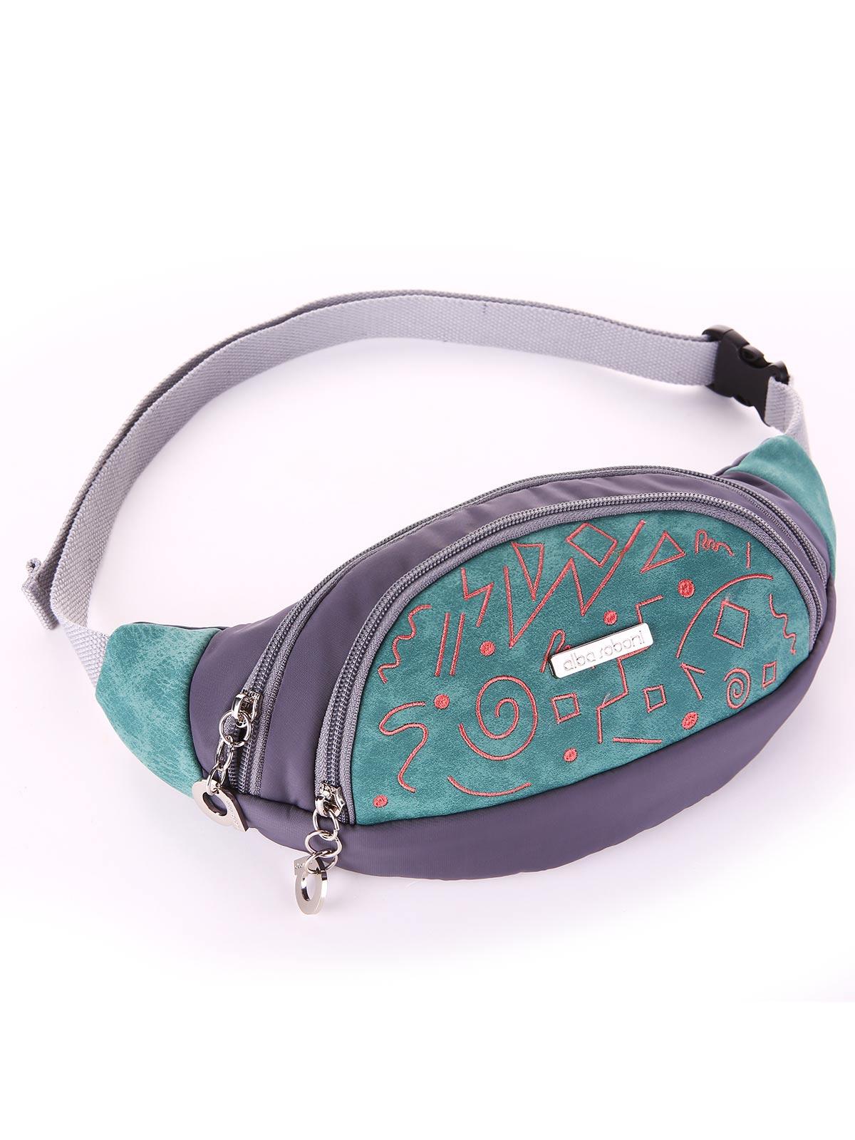 Модная сумка на пояс, модель 183883 серо-зеленый. Фото товара, вид сбоку.