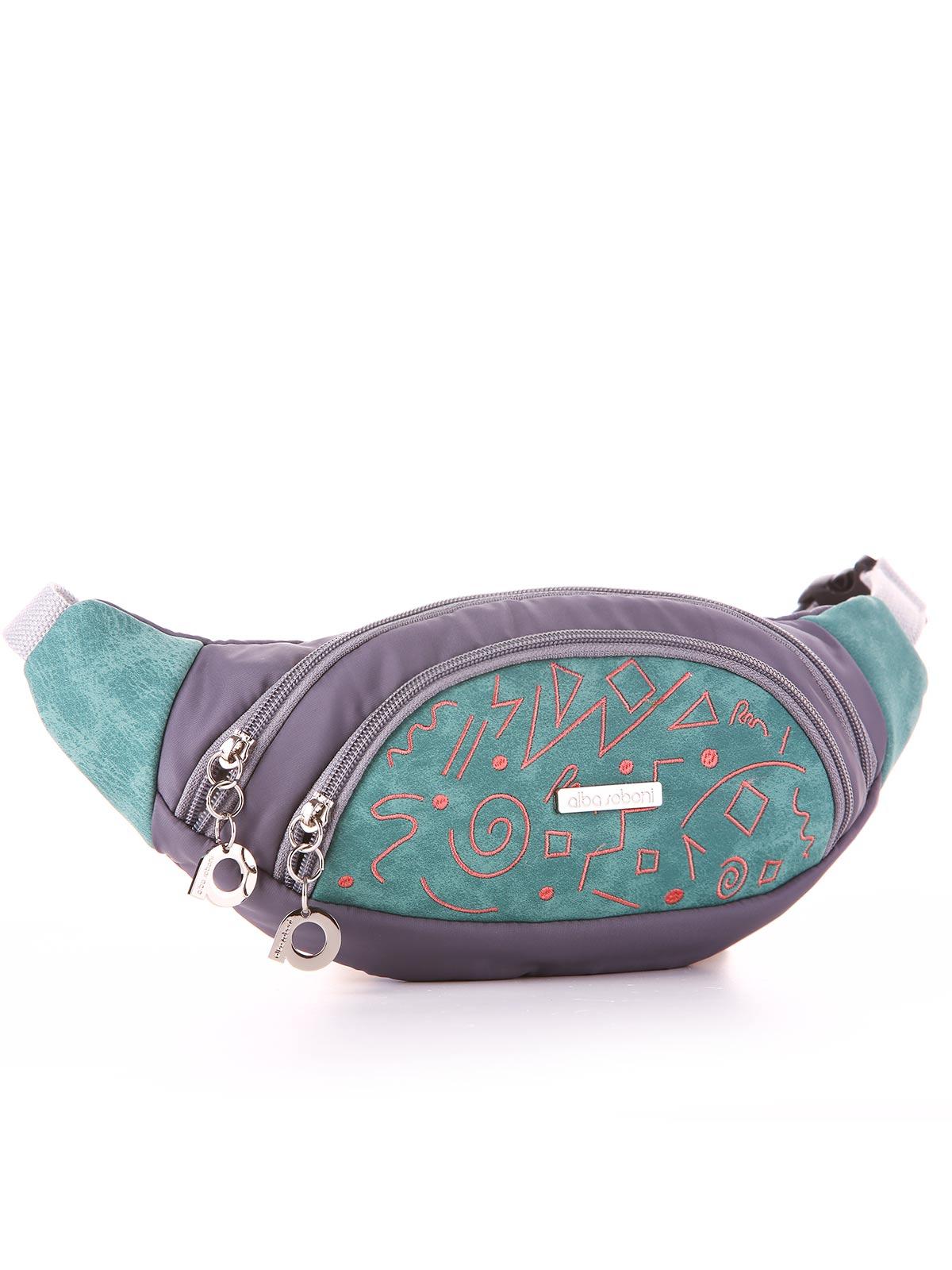Модная сумка на пояс, модель 183883 серо-зеленый. Фото товара, вид сзади.