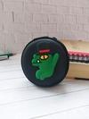 Стильний чохол для навушників крокодильчик в капелюсі чорний. Фото товару, вид 1