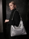 Стильная сумка, модель 190016 серебро. Фото товара, вид сбоку.